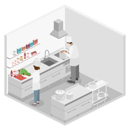 professional equipment: Isometric flat 3D concept vector interior of professional restaurant kitchen