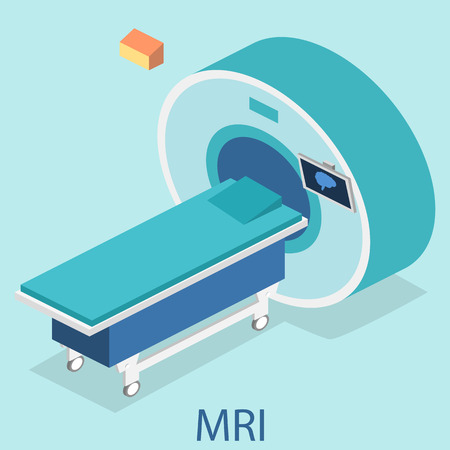 Isometric flat 3D concept vector hospital medical mri web illustration. Nuclear magnetic resonance imaging tomography room interior.