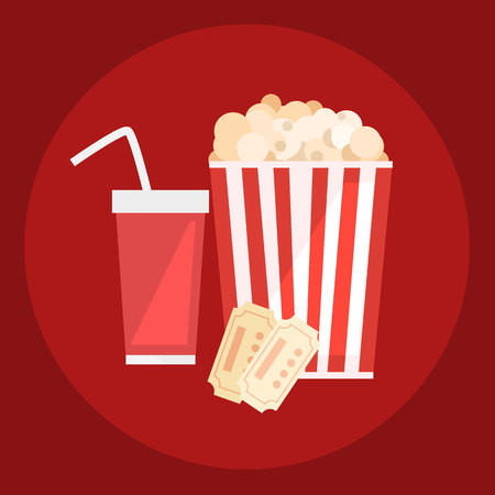 Popcorn for movie theater and online cinema reel on blue background.