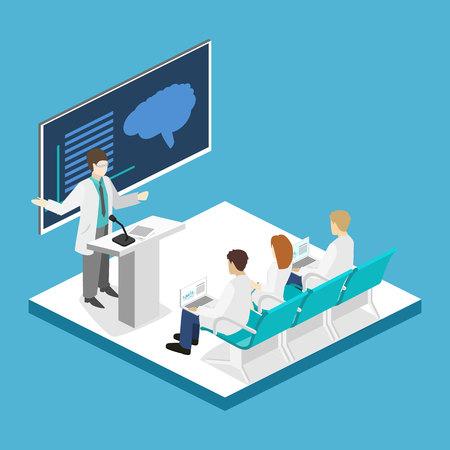 Izometryczny płaski 3D koncepcji konferencji lekarz medycyny klinik badań. Obraz ludzi izometrycznych