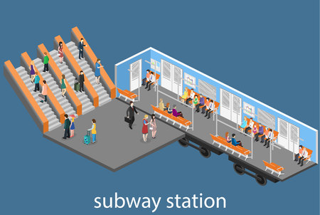 Isometric flat 3D concept interior of metro subway train carriage.