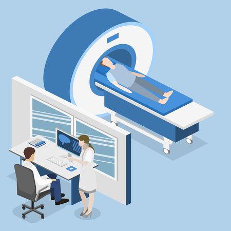 medical imaging: Isometric flat 3D concept hospital medical mri web illustration. Nuclear magnetic resonance imaging tomography room interior.