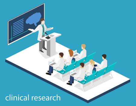 concepto isométrica en 3D plana de la formación en investigación clínica médico conferencia. Las personas isometría Imagen