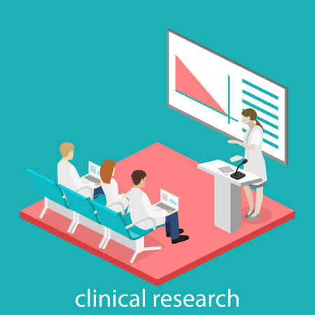 Isometric flat 3D concept of conference medical doctor clinic research training. Isometry People Image