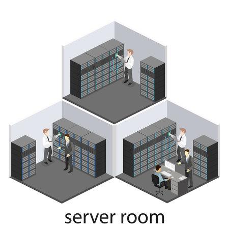 Interior isométrica de la sala de servidores. Foto de archivo - 65809648
