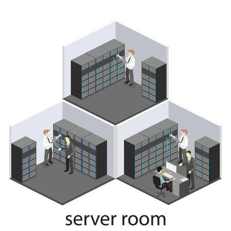isometric interior of server room.