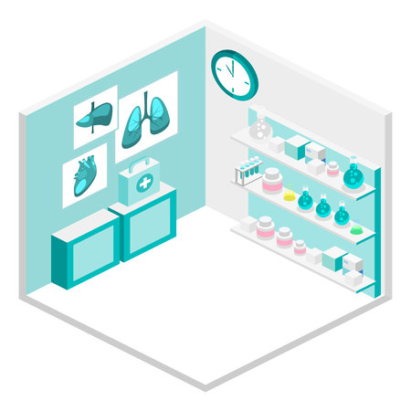 Isometric flat 3D concept vector interior of science laboratory. medical research pharmaceutical illustration