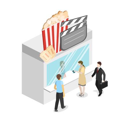 Isometric flat 3D concept vector interior of cinema theater box office Illustration