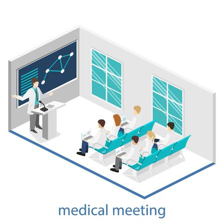 Isométrique concept de vecteur 3D plat de formation à la recherche clinique de médecin de conférence. Isométrie gens image