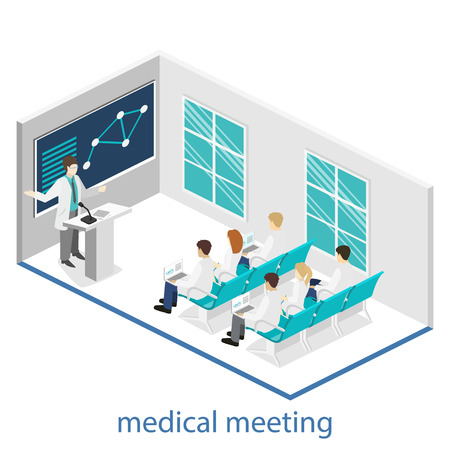 Isometrische flat 3D concept vector van de conferentie arts kliniek onderzoek training. Isometrie Mensen Afbeelding