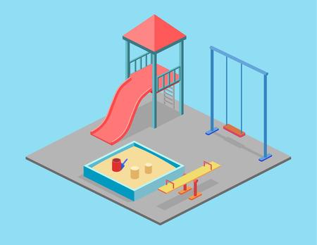sandbox: Isometric flat 3D concept web vector kids playground set. children swings, slide, sandbox and other objects