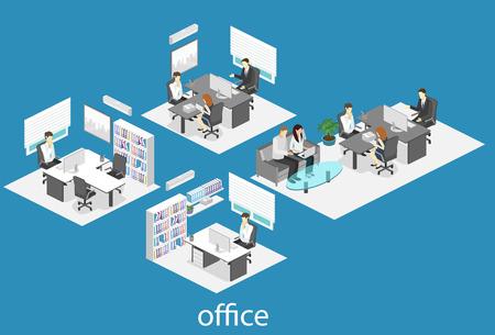 isometrische Innenraum des Büros des Direktors. Wohnung 3D-Darstellung des Schrankes.