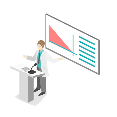trial indoor: Isometric flat 3D concept vector of conference medical doctor clinic research training. Isometry People Image Illustration