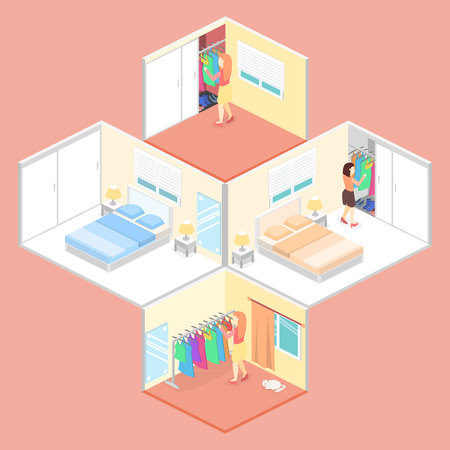 choosing clothes: Girl chooses clothes in isometric room. Flat vector 3D illustration.