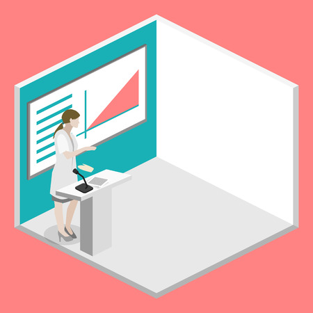 congress: Isometric flat 3D concept vector of conference medical doctor clinic research training. Isometry People Image Illustration
