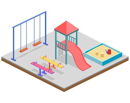Isometrische flat 3D concept web vector kinderspeeltuin set. Kinderen schommel, glijbaan, zandbak en andere objecten Stock Illustratie