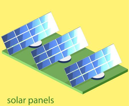 feld: Isometric flat 3D concept vector outside solar panels