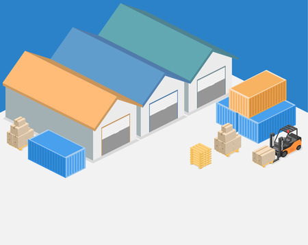 depot: Isometric flat 3D concept vector warehouse outside. The boxes are on the shelves.