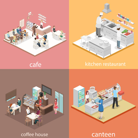 Isometric flat 3D concept vector interior of sweet-shop, cafe, canteen and restaurant kitchen. People sit at the table and eating. Flat 3D illustration Ilustração