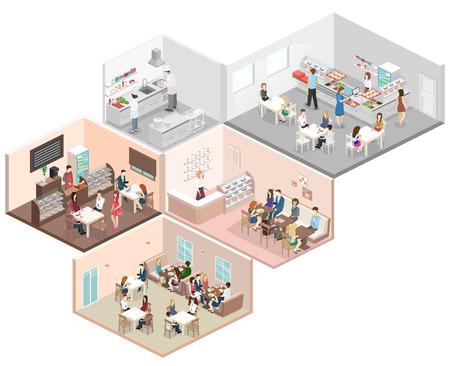 3D interior plana isométrica del vector del concepto de confitería, café, cantina y cocina de un restaurante. La gente se sienta a la mesa y comer. Ilustración 3D plana
