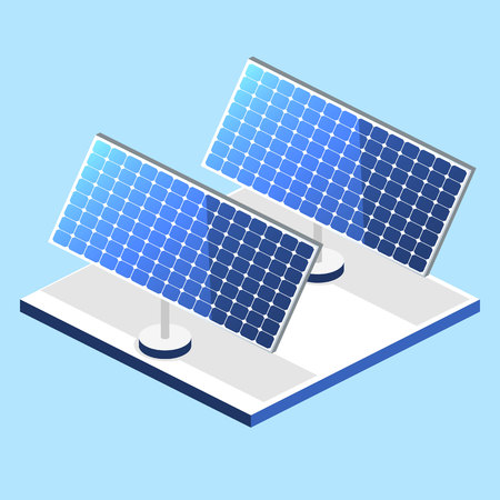 Isometric flat 3D concept vector outside solar panels