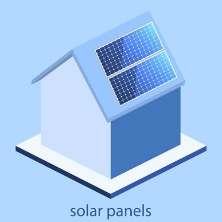 panels: Isometric flat 3D concept vector outside solar panels on house