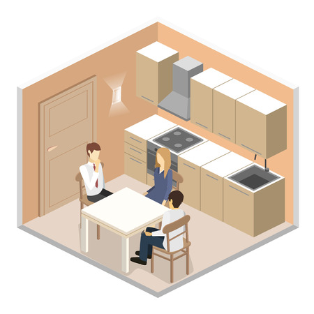 modern kitchen: Isometric flat 3D interior of modern kitchen. full set of kitchen furniture vector illustration. family dines at the table Illustration