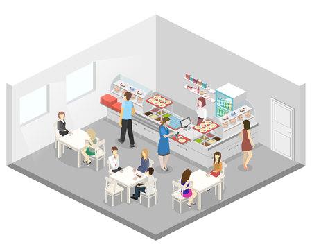 Izometryczny płaski 3D koncepcji wektora wnętrza kawiarni lub stołówki. Ludzie siedzą przy stole i jedzą.