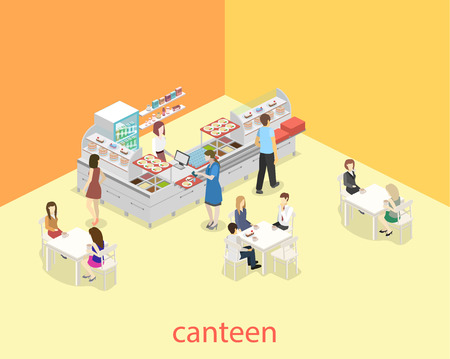 Isometric flat 3D concept vector interior of a coffee shop or canteen. People sit at the table and eating.