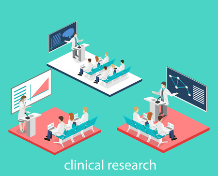 Isometric flat 3D concept vector of conference medical doctor clinic research training. Isometry People Image Ilustrace