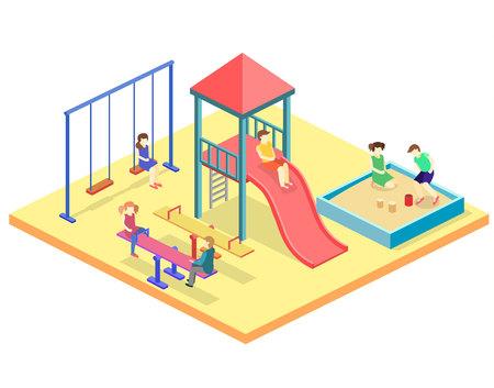 Isometric flat 3D concept web vector kids playground set.