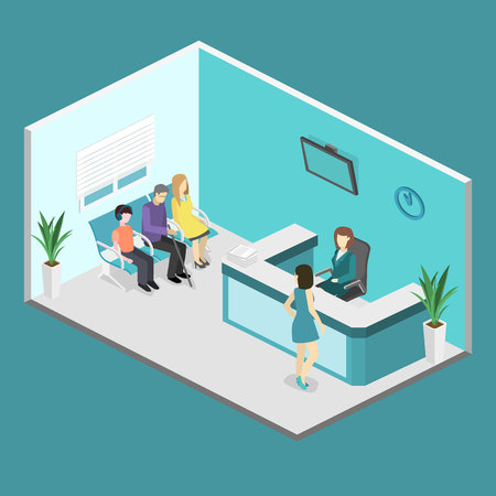 Isometric interior of reception. Flat 3D vector real illustration of waiting room in hospital or medical institution Stock Illustratie