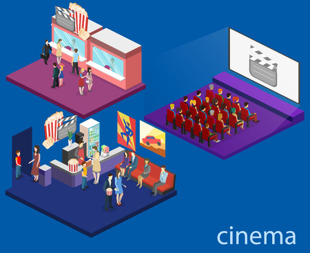 Isometric flat 3D concept vector interior of cinema hall,cafe, ticket offoce. people watching a movie