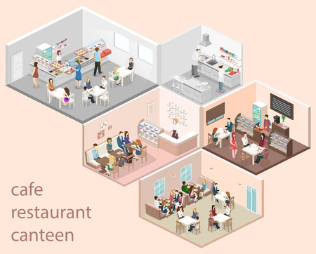 Isometric flat 3D concept vector interior of sweet-shop, cafe, canteen and restaurant kitchen. People sit at the table and eating. Flat 3D illustration Vectores