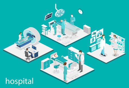 waiting room: Isometric flat interior of hospital room, pharmacy, doctors office, waiting room, reception. Doctors treating the patient. Flat 3D vector illustration