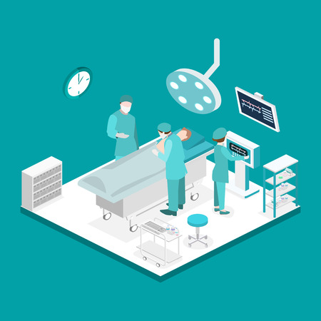 operating table: Isometric flat 3D concept vector interior of Surgery Department. Hospital Plastic Surgery Operating Theater Medical Doctor Surgeon and Patient Surgery Infographic. Illustration