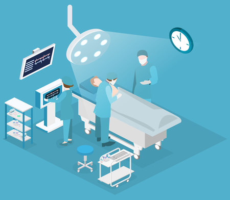 Isometric flat 3D concept vector interior of Surgery Department. Hospital Plastic Surgery Operating Theater Medical Doctor Surgeon and Patient Surgery Infographic. Ilustração