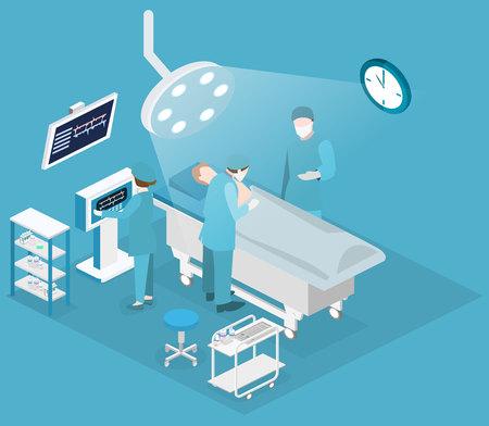 chirurgo: Isometrica piatto concetto di vettore 3D all'interno del Dipartimento di Chirurgia. Chirurgia Plastica Ospedale operativo Theater Medico Chirurgo e Chirurgia paziente Infografica.