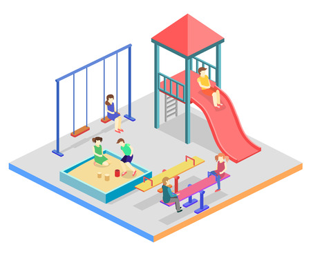kids playground: Isometric flat 3D concept web vector kids playground set. children swings, slide, sandbox and other objects