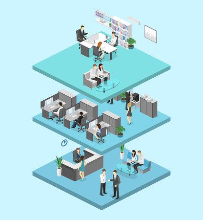 Isometrische flat 3d abstract kantoorverdieping interieur afdelingen begrip vector. conferentiezaal, kantoren, werkplaatsen, directeur van het kantoor interieur
