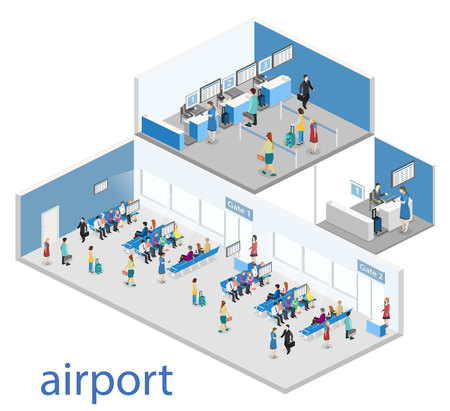 ticket office: Isometric flat 3D concept vector interior of airport check-in, waiting hall, Security gates, ticket office, baggage carousel