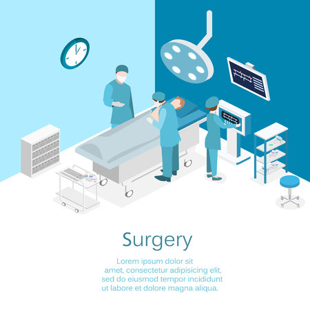 Isometric flat 3D concept vector interior of Surgery Department. Hospital Plastic Surgery Operating Theater Medical Doctor Surgeon and Patient Surgery Infographic. Stock Illustratie