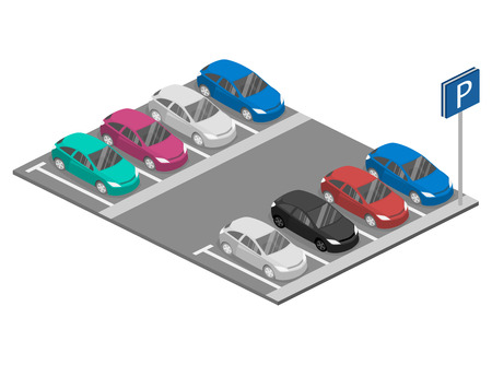 Isometric flat 3D concept vector car. Urban transport. parking space