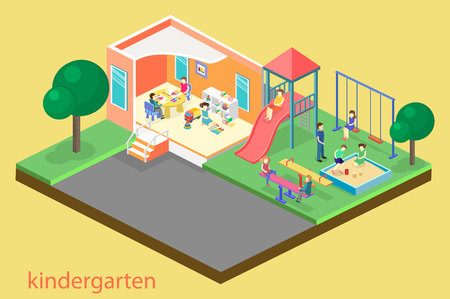 Isometric flat 3D concept web vector kids playground set. children swings, slide, sandbox and other objects