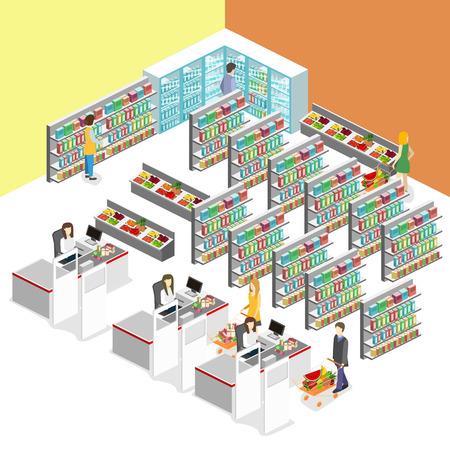 Interior isométrica de tienda de comestibles. El centro comercial concepto ilustración isométrica plana 3d vector web. Vectores
