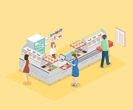 Isometric flat 3D concept vector interior of a coffee shop or canteen. Illustration