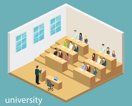 lecture hall: Isometric flat 3D concept vector interior university auditorium. Students sitting at desks and listening to the teacher. education training Illustration