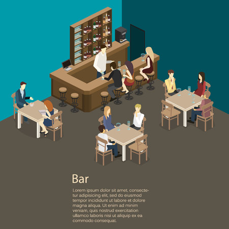 bar interior: Isometric 3D flat interior of bar or pub. The chairs stand around the bar. alcoholic drinks on the shelves