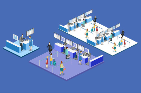 waiting room: Isometric flat 3D concept vector interior of airport check-in.