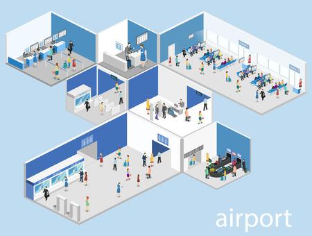 아이소 메트릭 플랫 3D 개념 공항 체크 - 인, 대기 홀, 보안 게이트, 매표소, 수하물 컨베이어의 벡터 내부